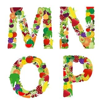 Vektor-Illustration Obst und Gemüse Alphabet Buchstaben