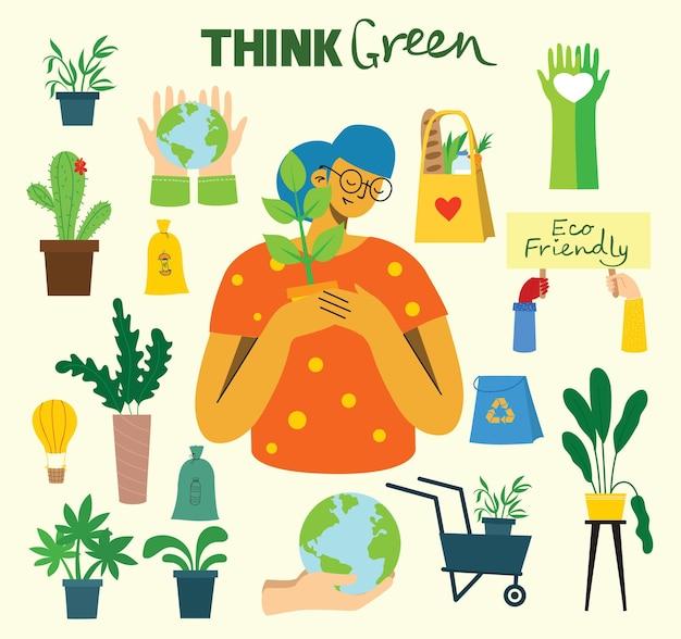 Vektor-illustration öko-hintergründe des konzepts der grünen öko-energie und zitat retten den planeten denken g...
