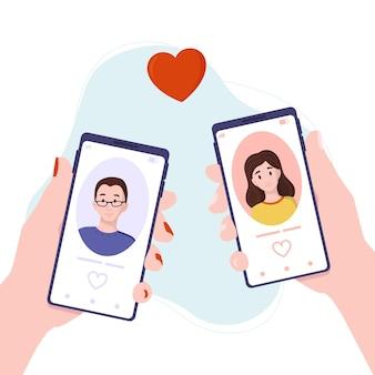 Vektor-illustration online-dating-konzept virtuelle liebe