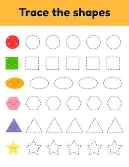 Vektor-illustration pädagogisches arbeitsblatt zur verfolgung von kindern im kindergarten, vorschulalter und im schulpflichtigen alter. verfolge die süße geometrische form. gestrichelt.
