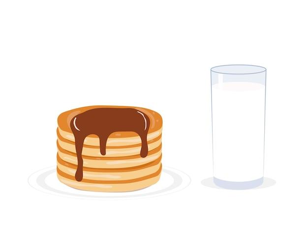 Vektor-illustration pfannkuchen und milch