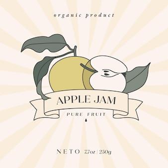 Vektor-illustration retro-design-label mit apfelfrucht - einfacher linearer stil. embleme komposition mit früchten und typografie.