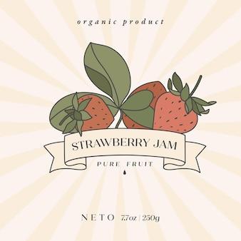 Vektor-illustration retro-design-label mit erdbeerfrucht - einfacher linearer stil. embleme komposition mit früchten und typografie.