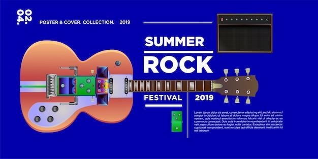 Vektor-illustration rockmusik und gitarrenfestival
