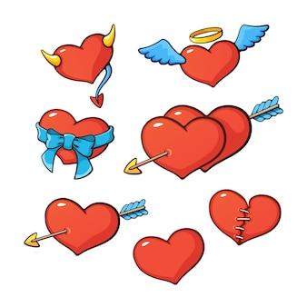 Vektor-illustration satz herzen mit flügelhörnern pfeilband und naht zum valentinstag
