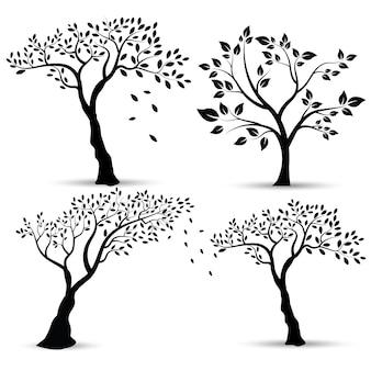 Vektor-illustration: satz schattenbilder von bäumen