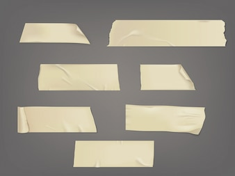Vektor-Illustration Satz von verschiedenen Scheiben eines Klebebandes mit Schatten und Falten