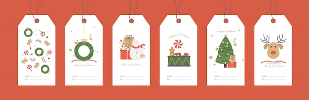 Vektor-illustration. satz weihnachtsgeschenkanhänger.