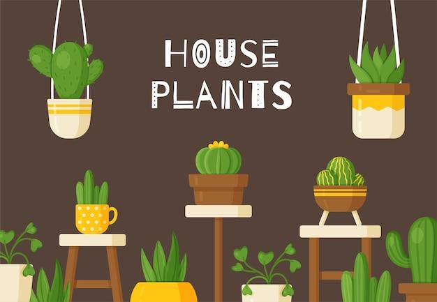 Vektor-illustration. schöne zimmerpflanzen, vasen und blumen. große schöne bodenblumen und hängende vasen. dunkelbrauner hintergrund, tapete.