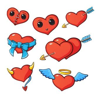 Vektor-illustration set von herzen zum valentinstag cartoon-stil mit kontur