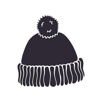 Vektor-illustration silhouette der wintermütze mit pompon weihnachtskopfschmuck aus wolle