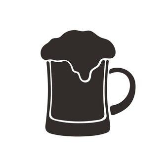 Vektor-illustration silhouette einer tasse bier mit schaum glas alkoholgetränk