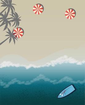 Vektor-illustration strand meer urlaub palmen am strand sonnenschirme am strand sonnenbaden