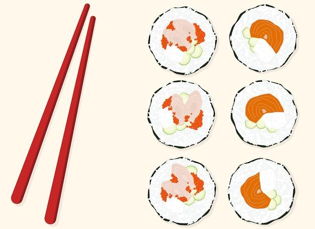 Vektor-illustration. sushi des traditionellen japanischen essens. sushi-set mit lachs und garnelen, in der nähe von holzstäbchen