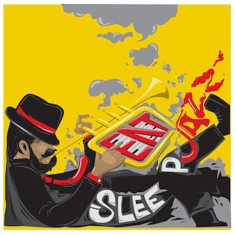 Vektor-illustration trompete jazz musiker spieler für poster