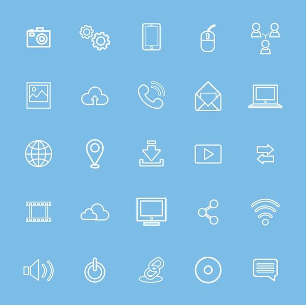 Vektor-illustration ui-technologie-ikonen-konzept