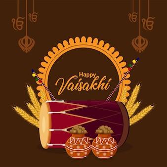 Vektor-illustration und hintergrund des sikh-festivals glücklich vaisakhi