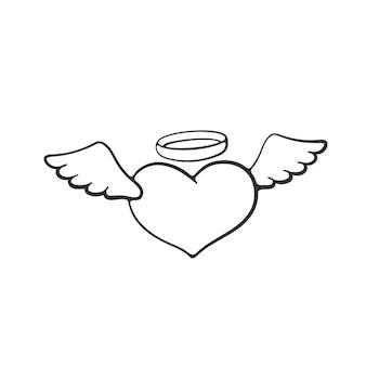 Vektor-illustration valentinstag symbol engelsherz mit flügeln und einem heiligenschein hand gezeichnetes gekritzel