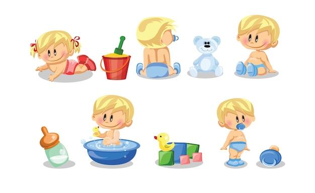Vektor-illustration von babys und babys und täglichen routine-set von niedlichen cartoon-kinder- und säuglingsillustrationen