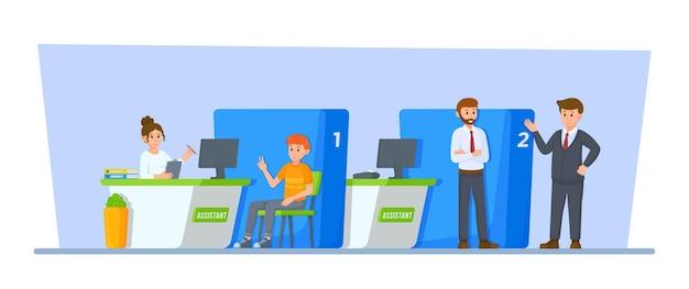 Vektor-illustration von bank-tag-kunde und bankangestellter im kassenfenster registry