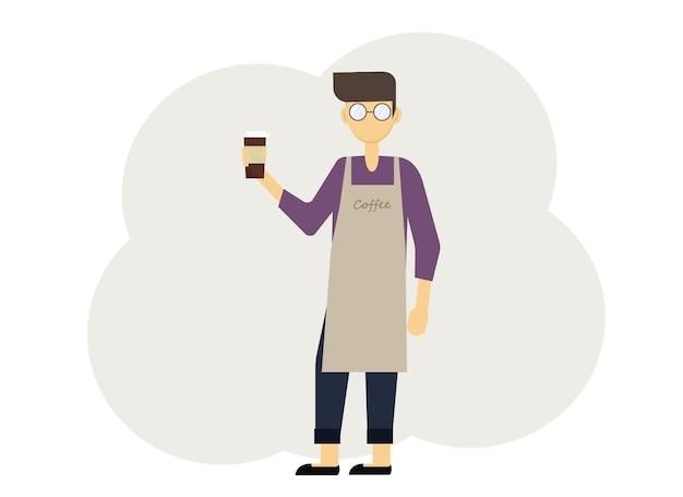 Vektor-illustration von barista-mann mit gläsern kaffee und in uniform mit schürzen