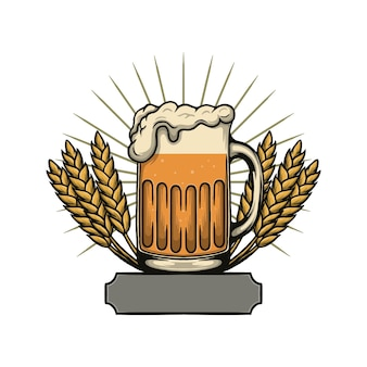 Vektor-illustration von bier in einem glas-oktoberfest