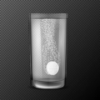 Vektor-illustration von brausetabletten, lösliche pillen fallen in ein glas mit wasser mit kohlensäurehaltigen blasen auf einem schwarzen hintergrund isoliert.