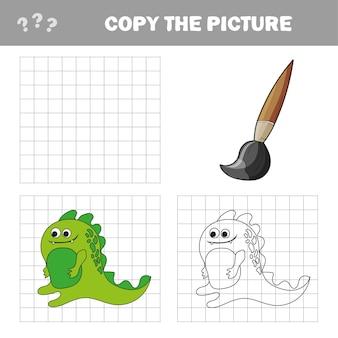 Vektor-illustration von cartoon-dinosaurier - malbuch und puzzle für kinder