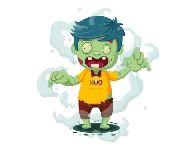 Vektor-illustration von cartoon-zombie. glücklicher halloween-tag charakterzombie