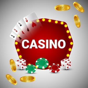 Vektor-illustration von casino-online-glücksspiel mit spielkarten und goldmünze