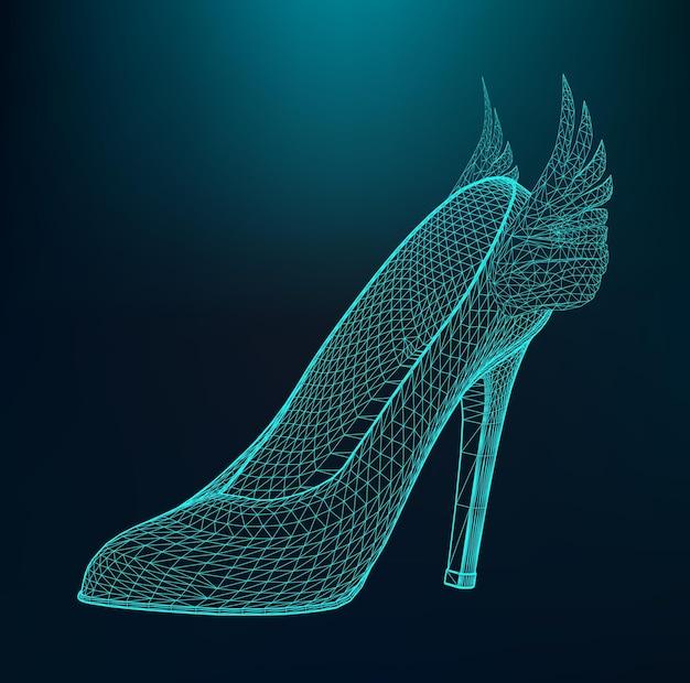 Vektor-illustration von damenschuhen mit hohen absätzen. das strukturelle gitter von polygonen.
