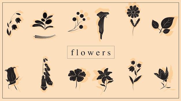 Vektor-illustration von dekorativen blumen und pflanzen in schwarz. eps 10