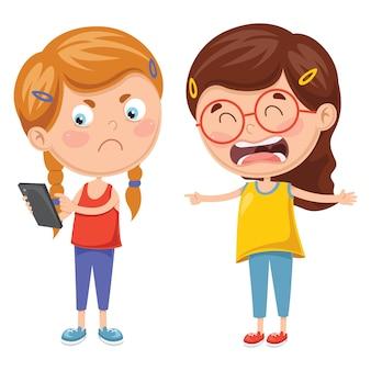 Vektor-illustration von den kindern, die für smartphone kämpfen