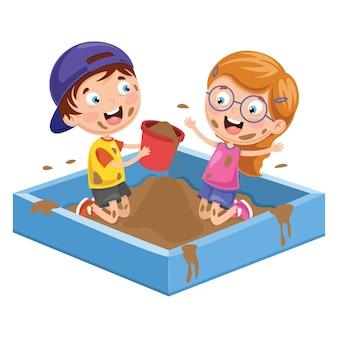 Vektor-Illustration von den Kindern, die im Schlamm spielen