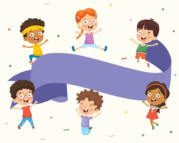 Vektor-illustration von den kindern, die leeres plakat halten