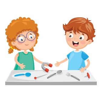 Vektor-illustration von den kindern, die magneten verwenden