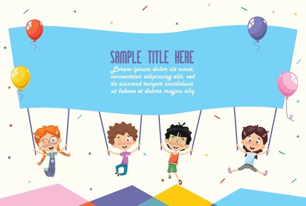 Vektor-illustration von den kindern, die plakat halten