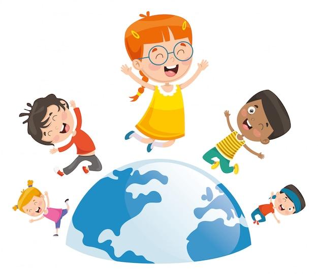 Vektor-illustration von den kindern, die um die welt spielen