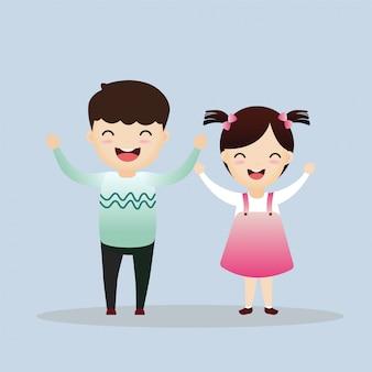 Vektor-illustration von den lustigen kindern, die draußen spielen.