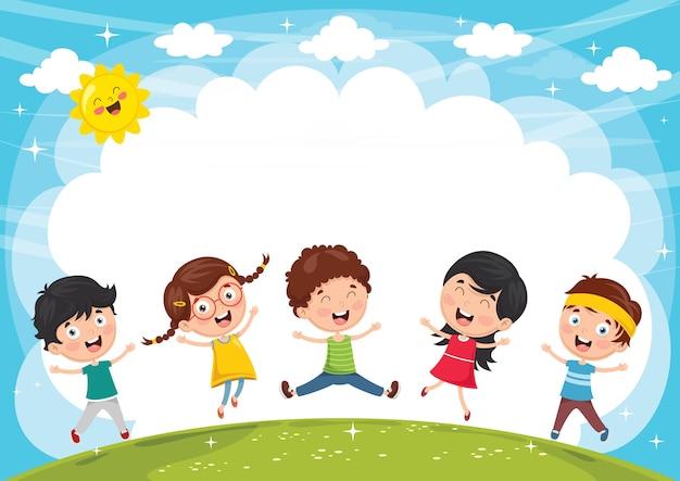 Vektor-illustration von den lustigen kindern, die draußen spielen