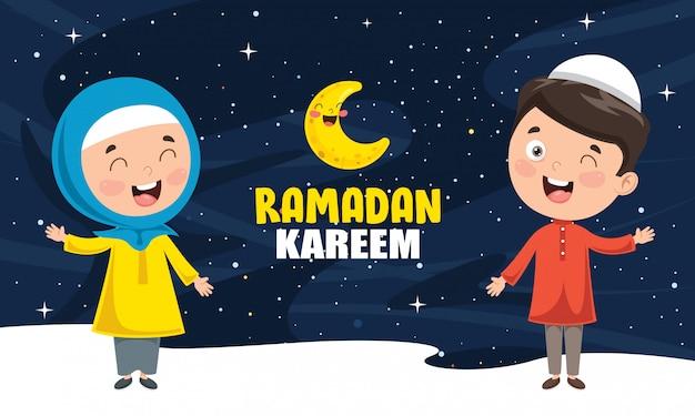 Vektor-illustration von den moslemischen kindern, die ramadan feiern