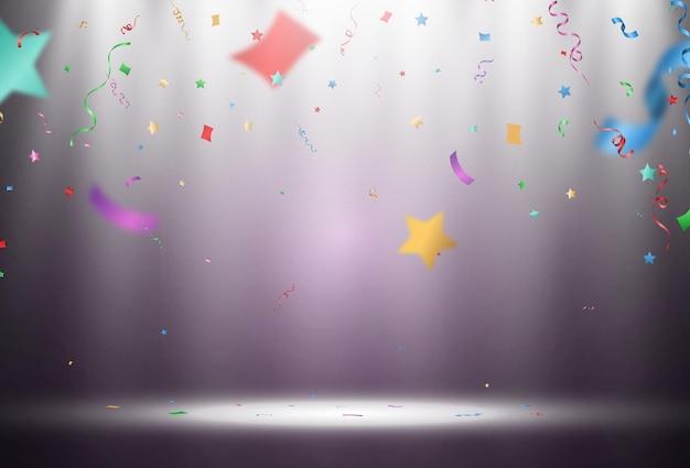 Vektor-illustration von fallendem konfetti auf einem transparenten hintergrund