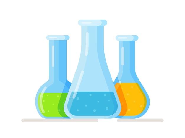 Vektor-illustration von flaschen und reagenzgläsern isoliert auf weiß