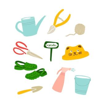 Vektor-illustration von gartengeräten im doodle-stil. set von gartensymbolen, dingen, objekten. gestaltung von postkarten, postern und websites