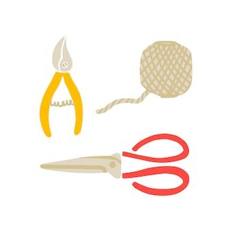 Vektor-illustration von gartengeräten im doodle-stil. set von gartensymbolen, objekten - schere, schere, faden. gestaltung von postkarten, postern und websites