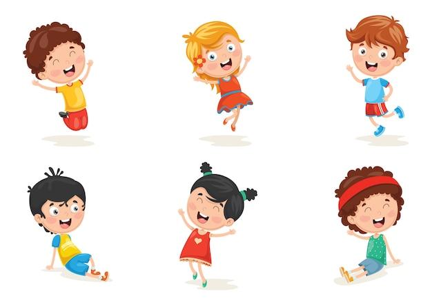 Vektor-illustration von glücklichen kindercharakteren