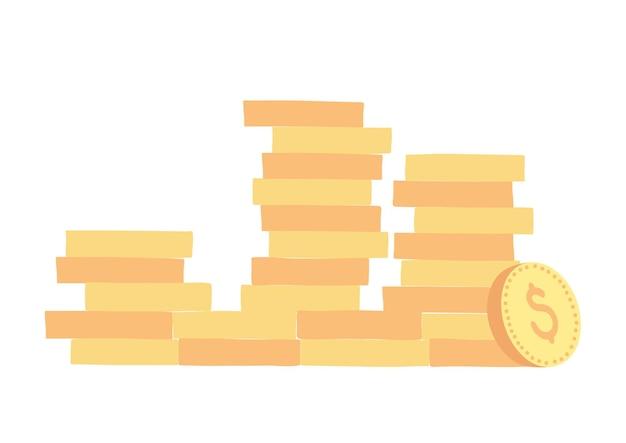 Vektor-illustration von goldenen münzen. münzstapel, geldzeichen. getrennt auf weiß.