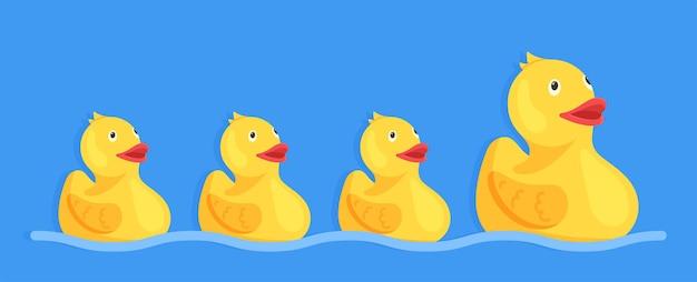 Vektor-illustration von gummienten. eine große ente. und drei kleine entlein. aufblasbare gummiente. gelbes entenspielzeug. enten schwimmen im wasser.