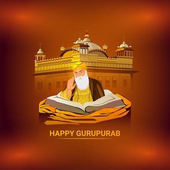 Vektor-illustration von guru nanak dev ji für glücklichen gurpurab