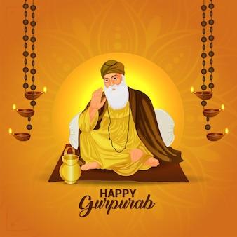 Vektor-illustration von guru nanak dev ji für glücklichen guru nanak jayantivektor-illustration von guru nanak dev ji für glücklichen guru nanak jayanti